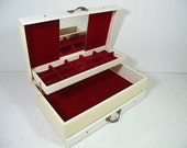 Vintage Shabby Chic Ivory & White Leatherette Oversized Jewelry Box - Dark Red Velvet 3 Tiered Interior with Mirror - Retro Jewelry Display