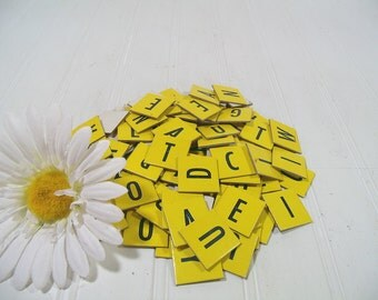 Game Letter Tiles Anagram Black Letters on Yellow Cards Set School Paper Supplies - Repurpose 100 Pieces Cardboard Upper Case Initial Tiles