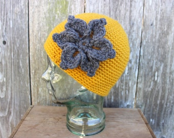Wool Beanie - Yellow with Gray Flower - Skull Cap