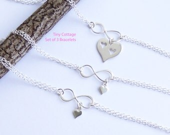 Sterling Silver Mother and Two Daughters Infinity Cut Out Heart Bracelet Set... Set of 3 Bracelets