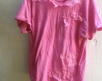 summer dark pink berry handmade gypsy boho hand dyed vintage linen tattered tee