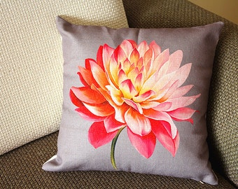 "Designer Linen Pillow -gray pink Lotus flower Floral Pillow Cover - 18"" 45 cm Decorative Cushion Cover Throw Pillow cover  195"