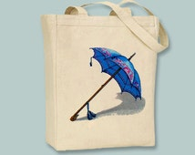 Vintage Blue Umbrella Illustration canvas tote  -- Selection of sizes and peresonalization available