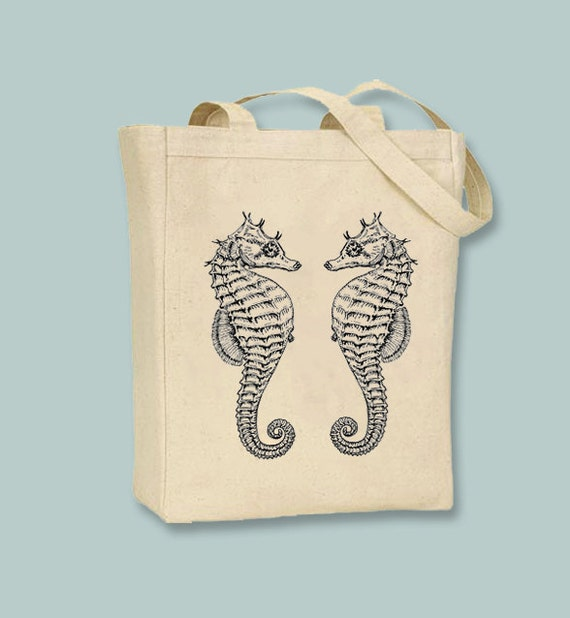 Lovely Couple Seahorses Vintage Illustration Canvas Tote -  Selection of sizes, ANY IMAGE  COLOR