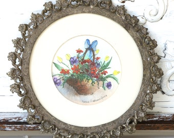 Vintage Floral Watercolor In Ornate Metal Frame - Yvonne Hartmann Smith
