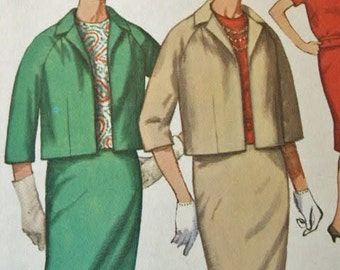 Vintage 1960's Simplicity Slim Pencil Skirt & Overblouse with Short Matching Jacket Sewing Pattern Size 12 1/2 Bust 33
