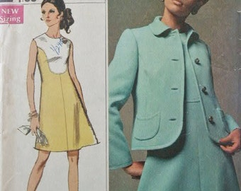 Vintage 1960's Simplicity Designer Fashion Dress and Jacket 8092 Sewing Pattern Size 10 Bust 32 1/2