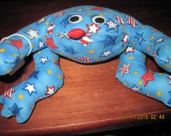 Theraputic (hot or cold) Red,White,Blue Stars Frog,Home Decor,Table Top,Mantle...HAND MADE..OOAK...Orginial Design