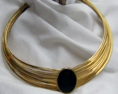 Shining Wire Torc Choker Collar Necklace  Goldtone with Black Stone  Tribal Ancient Jewelry Style