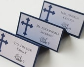 Classy Cross Boy Baptism-Communion Place Cards--Private Listing