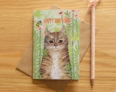Illustrated Garden Tabby Cat Birthday Card