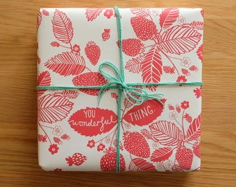 2 Sheets Strawberries Gift Wrap