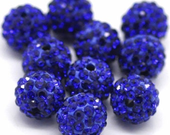 10 ROYAL BLUE Polymer Clay and Clear Pave' Rhinestone Beads, round 8mm  pol0115