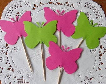 24 Bright Pink & Lime Green Large Butterfly Cupcake Toppers - Food Picks - Party Picks - Party Decorations
