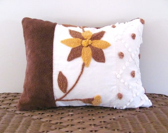 CHOCOLATE CARAMEL BLOOM vintage chenille pillow cover 12 X 16 inches, autumn pillow case, brown fall cushion cover