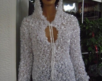 MADE TO ORDER white sweater/handmade knitted sparkle hoodie sweater gift idea for her women clothing by goldenyarn