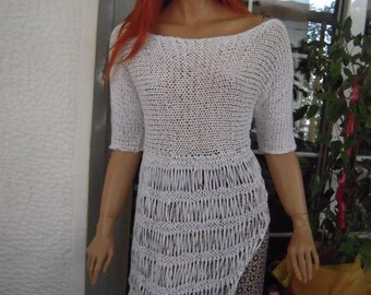 MADE TO ORDER Handmade knitted grecian chic asymmetrical white dress/sweater from cotton tape yarnwomen clothing summer trends by goldenyarn