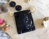 Vintage Carved Black Celluloid Cameo Brooch