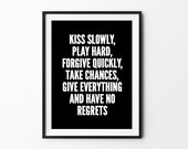 Kiss Inspirational poster, life motto, wall decor, mottos, graphic design, gift idea, print art, motivational, love quote, typography art