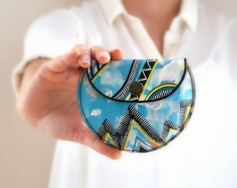 Mint Yellow Black White Doodled Leather Coin Purse, Colorful Cute Gift For Her, Boho Tribal African Aztec Design, Hand Painted