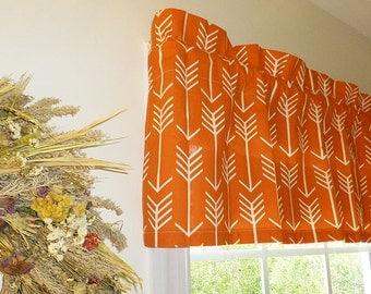 Orange Window Valance - Orange Window Curtains  - Orange Valances - Arrow Orange Window Valance 52 x 16 with Ruffled Top