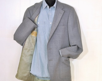1970's Mens Blazer 40 X Long Gray Wool Vintage Menswear Tall Man Donald Brooks Antiqued Gold Buttons Fully Lined Vintage Menswear Clothing
