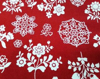 Scandinavian flower and crochet, red, fat quarter, pure cotton fabric