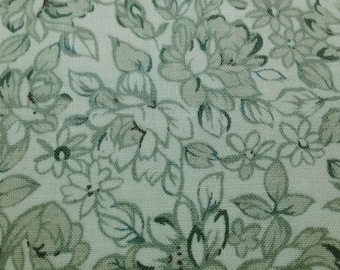 SALE - Roses and daisy, pastel green, 1/2 yard, pure cotton fabric
