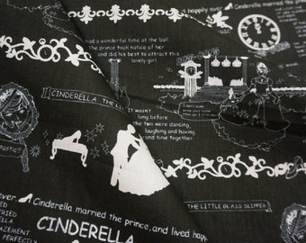 Cinderella, on black, 1/2 yard, pure cotton fabric