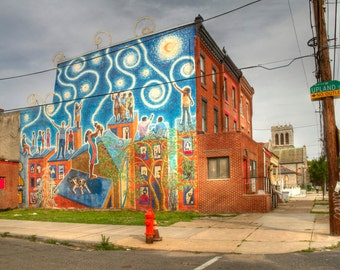 Magic Wall Mural, West Philadelphia, Urban Landscape Photograph, Color, Mural Arts Program, Wall Art Print, Home Decor, City, Swirls