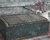 Primitive Antique Wooden Box with Lid Blue Paint