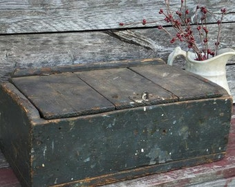 Primitive Antique  Wooden Box with Lid Blue Painted