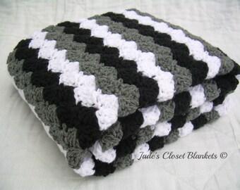 Crochet Baby Blanket, Baby Blanket, Crochet Grey Baby Blanket, Gray Baby Blanket, black, white, and grey, crib size