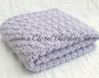 Crochet Baby Blanket, Baby Blanket, Crochet Purple Baby Blanket, Lilac, light purple, travel size