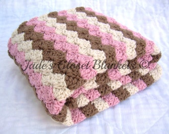 Crochet Baby Blanket, Baby Blanket, Crochet Baby Girl Blanket, Pink, Brown, and Cream, crib size