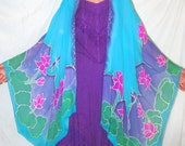 Lotus silk cape, womans gift, Goddess of Compassion, lotus cape, ceremonial,dragon fly, silk ruana, goddess wear, resort wear,sarong