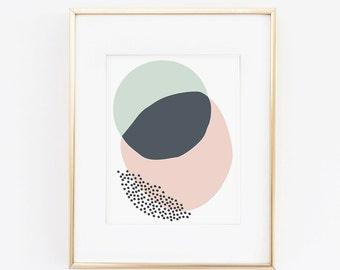 Blue & Pink Overlapping Circles- 8.5 x 11 Print