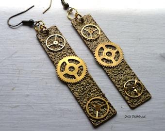 Steampunk Dangle Earrings Hammered Metal Brass Gears