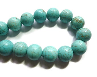 Blue Turquoise - Magnesite - 18mm Round - 23 beads - Full Strand