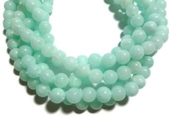 Jade - 8mm Round Bead - Ocean Blue Aqua Pale Turquoise - 50 beads - Full Strand