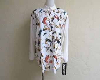 SALE Vintage NOS Un Deux Trois 80s Puffy Cowboy Boot Print Big Shirt O/S