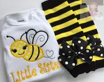 Bumblebee bodysuit and leg warmers - Sweet as Can BEE - personalized bodysuit and leg warmers with name or Little Sister Big Sister