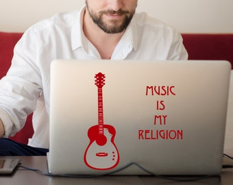 Music Acoustic Guitar + Phrase Decal Laptop Car iPad Decal