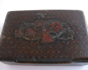 Antique Trinket Box 1800s 19th Century Tiny Handmade Primitive