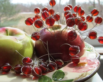 10 Wire Wrapped Cherry Red Glass Headpin