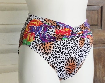 1980s High Waist Bikini Bottoms Leopard Print and Paisley