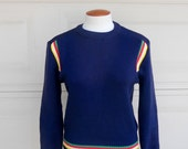 70s Wool Sweater Navy Blue Pullover Stripes Jumper Size Small