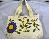 New handwoven 100% cream color wool embroidered purple flower bag purse tote