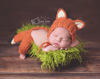 Newborn Fox Bonnet and Pants, Newborn Photo Prop, Newborn Fox Prop, Baby Fox Bonnet and Pants, Newborn Fox Set with Tail, Baby Fox Set