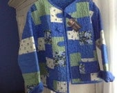Reserved for NuBaby. Handmade Quilted Patchwork Jacket in Shades of Blue and Green Prints and Solids.